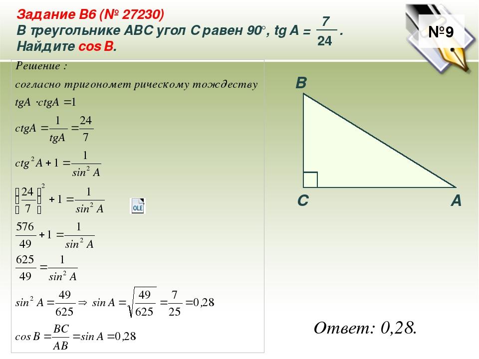 №9 Ответ: 0,28. A B C Задание B6 (№ 27230) В треугольнике ABC угол C равен 90...