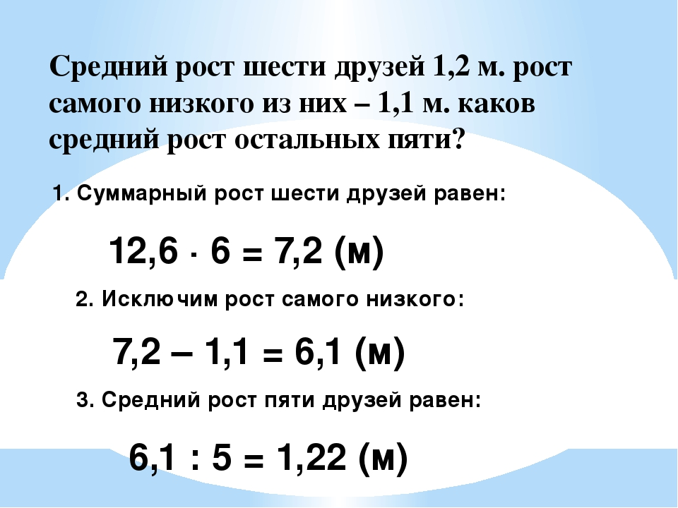 1. Суммарный рост шести друзей равен: 12,6 · 6 = 7,2 (м) 2. Исключим рост сам...