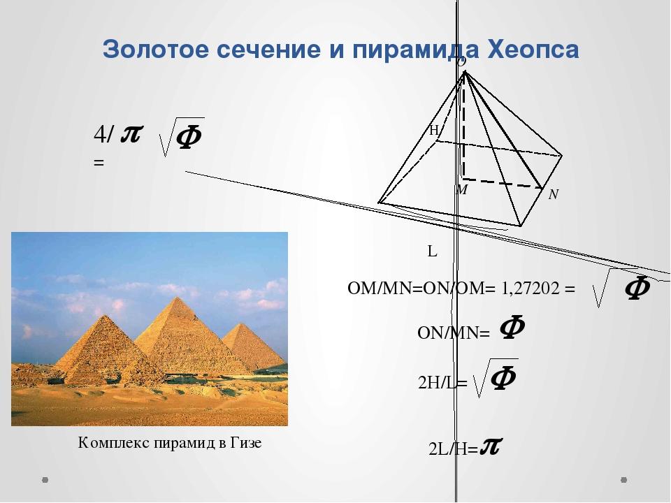 Золотое сечение и пирамида Хеопса Комплекс пирамид в Гизе ОМ/MN=ON/OM= 1,2720...