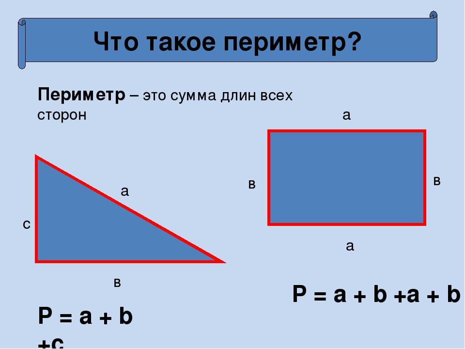 Что такое периметр? Периметр – это сумма длин всех сторон a в с a в a в P = a...