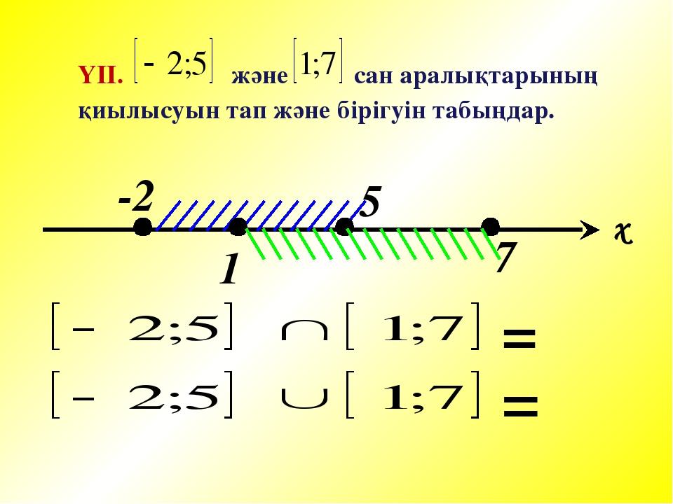 ҮІІ. және сан аралықтарының қиылысуын тап және бірігуін табыңдар. 7 x -2 1 5 = =