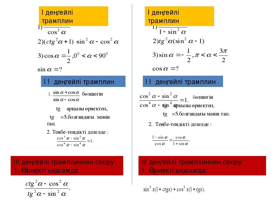 1. бөлшегін tg α арқылы өрнектеп, tg α=5.болғандағы мәнін тап. 2. Теңбе-теңді...