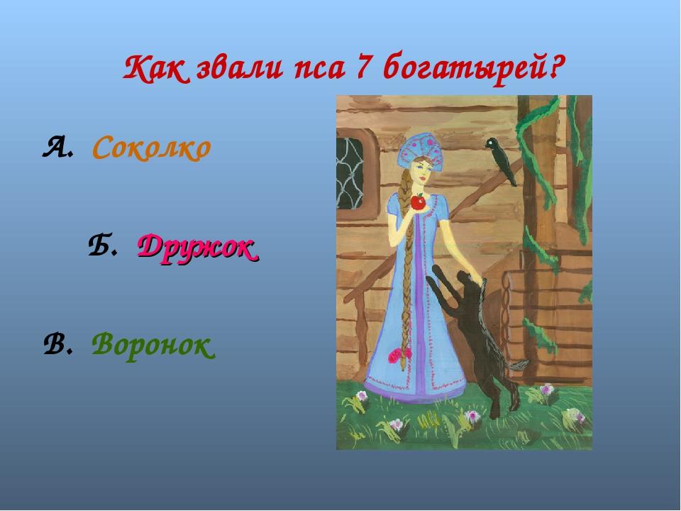Как звали пса 7 богатырей? А. Соколко Б. Дружок В. Воронок