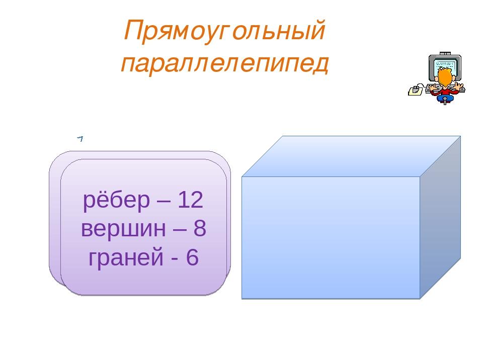 Прямоугольный параллелепипед рёбер – 12 вершин – 8 граней - 6 рёбер – 12 верш...
