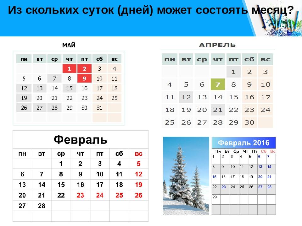 Из скольких суток (дней) может состоять месяц? Free PPT _ Click to add title