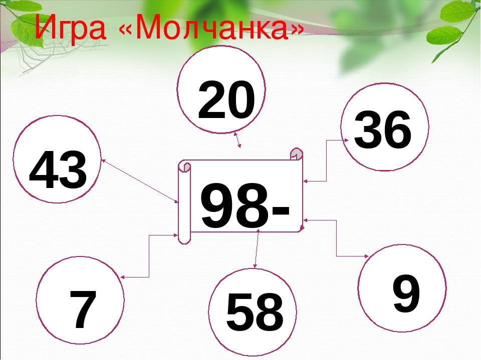 Игра «Молчанка» 98- 43 20 36 7 58 9