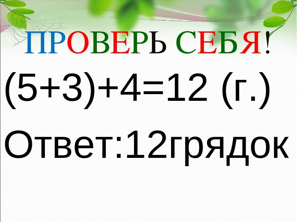 ПРОВЕРЬ СЕБЯ! (5+3)+4=12 (г.) Ответ:12грядок