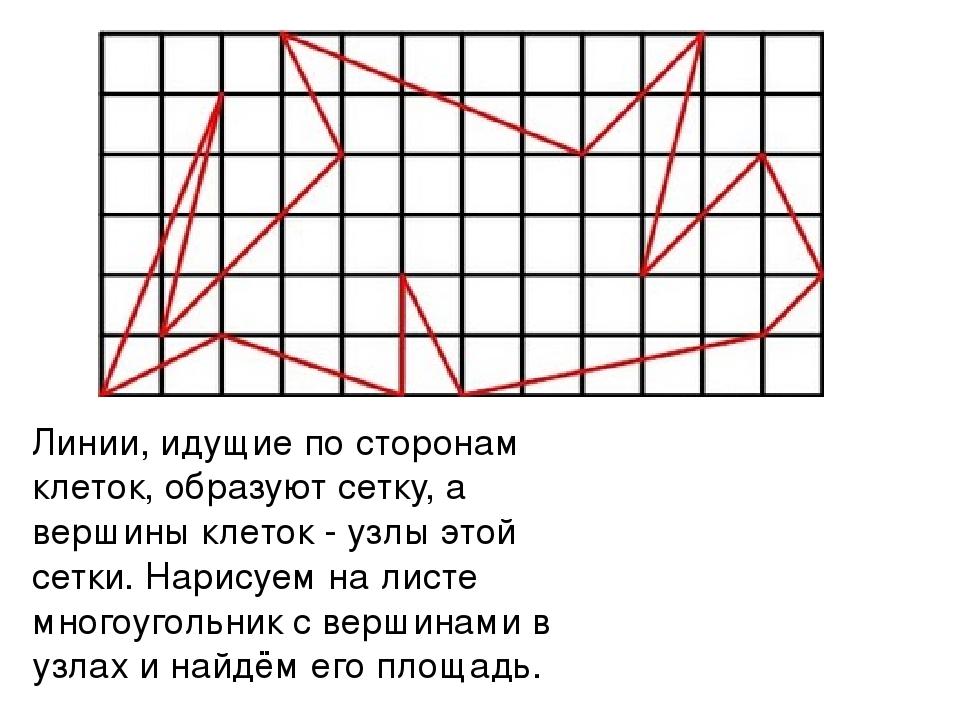 Линии, идущие по сторонам клеток, образуют сетку, а вершины клеток - узлы это...