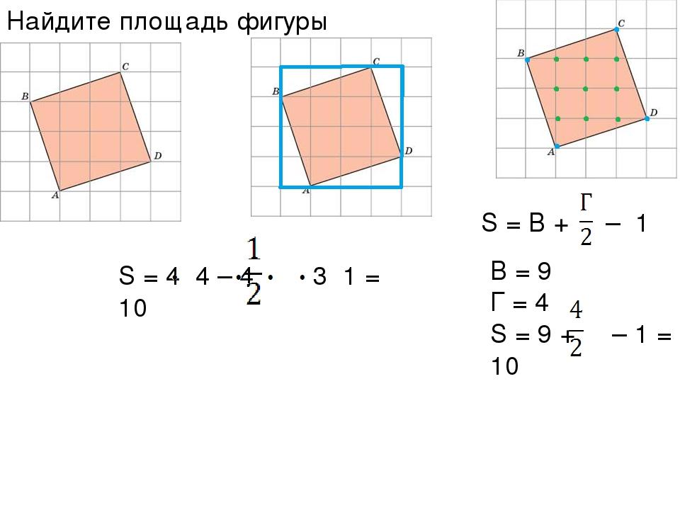 S = 4 4 – 4 3 1 = 10 S = В + – 1 B = 9 Г = 4 S = 9 + – 1 = 10 Найдите площадь...