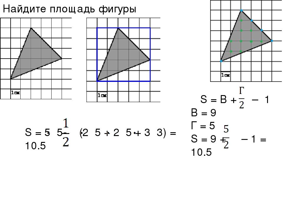 S = 5 5- (2 5 + 2 5 + 3 3) = 10.5 Найдите площадь фигуры S = В + – 1 B = 9 Г...