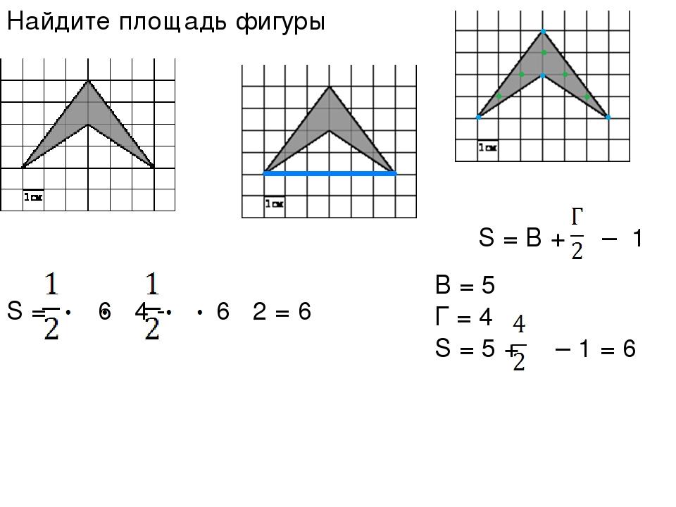 Найдите площадь фигуры S = В + – 1 B = 5 Г = 4 S = 5 + – 1 = 6 S = 6 4 - 6 2 = 6