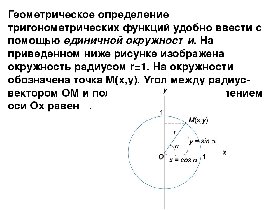 Геометрическое определение тригонометрических функций удобно ввести с помощью...