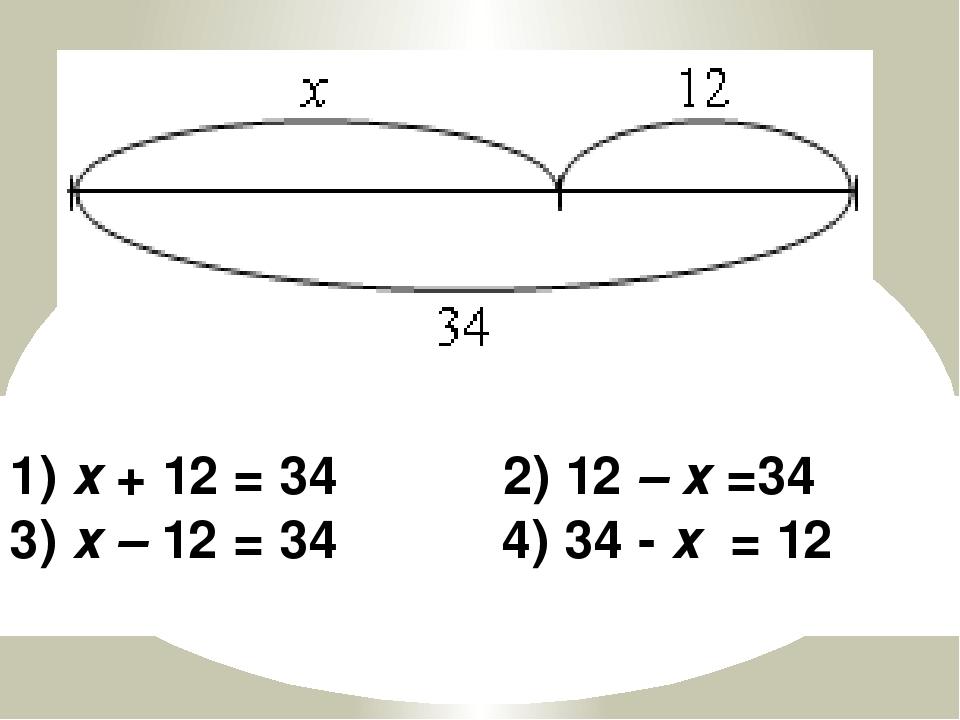 1) х + 12 = 34 2) 12 – х =34 3) х – 12 = 34 4) 34 - х = 12