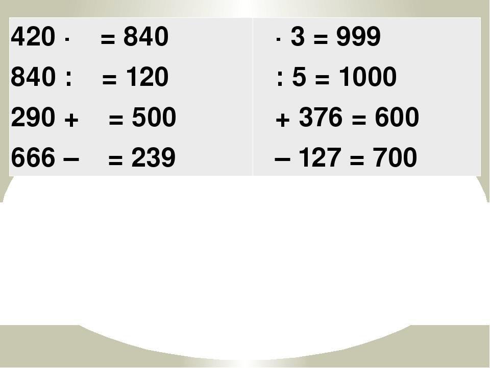 420 ·  = 840 840 :  = 120 290 +  = 500 666 –  = 239  · 3 = 999  : 5 = 1...