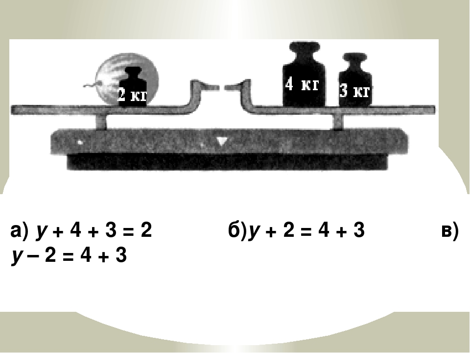 а) y + 4 + 3 = 2 б)y + 2 = 4 + 3 в) y – 2 = 4 + 3