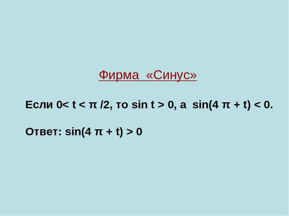 Фирма «Синус» Если 0< t < π /2, то sin t > 0, а sin(4 π + t) < 0. Ответ: sin(...