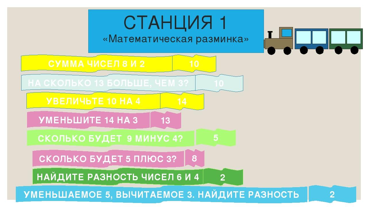 СТАНЦИЯ 1 «Математическая разминка» СУММА ЧИСЕЛ 8 И 2 НА СКОЛЬКО 13 БОЛЬШЕ, Ч...