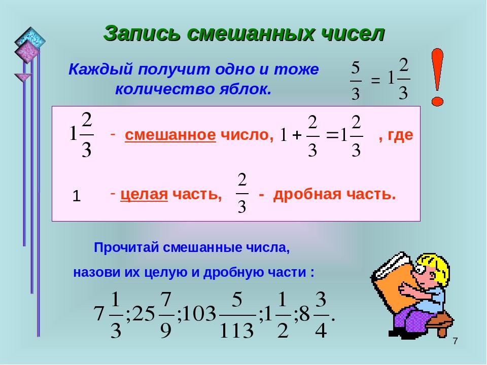 * Запись смешанных чисел Каждый получит одно и тоже количество яблок. смешанн...