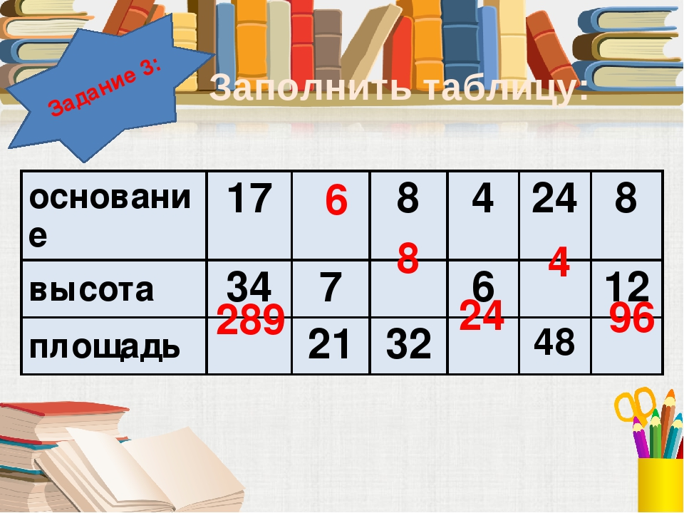 Задание 3: Заполнить таблицу: 289 6 8 24 4 96 основание 17 8 4 24 8 высота 34...