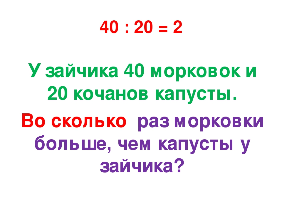 40 : 20 = 2 У зайчика 40 морковок и 20 кочанов капусты. Во сколько раз морков...
