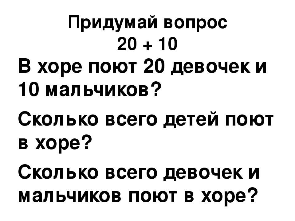 Придумай вопрос 20 + 10 В хоре поют 20 девочек и 10 мальчиков? Сколько всего...