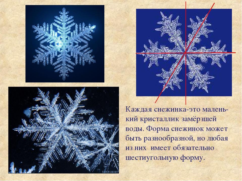 Каждая снежинка-это малень-кий кристаллик замёрзшей воды. Форма снежинок може...