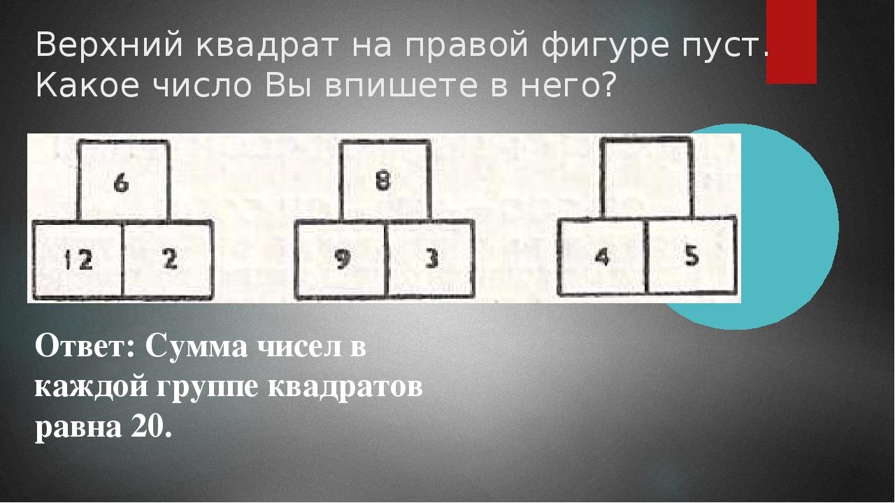 Верхний квадрат на правой фигуре пуст. Какое число Вы впишете в него? Ответ:...