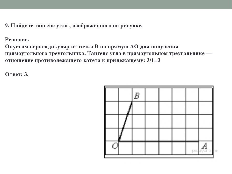 9. Найдите тангенс угла , изображённого на рисунке. Решение. Опустим перпенди...