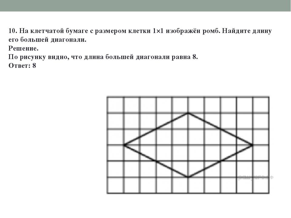 10. На клетчатой бумаге с размером клетки 1×1 изображён ромб. Найдите длину е...