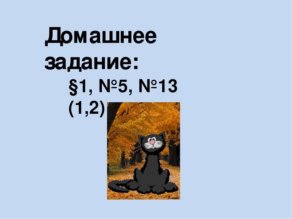 Домашнее задание: §1, №5, №13 (1,2)