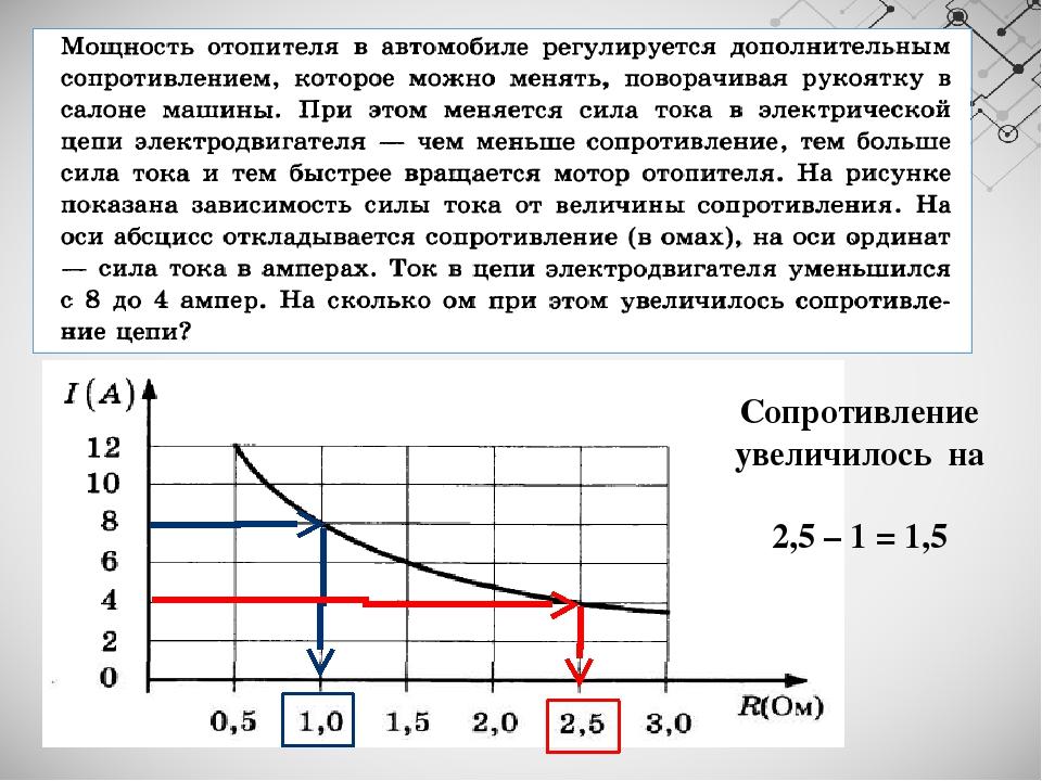 Сопротивление увеличилось на 2,5 – 1 = 1,5