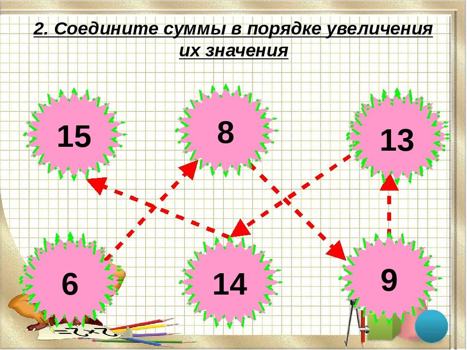 2. Соедините суммы в порядке увеличения их значения 6+9 6+3 6+7 6+8 6+2 6+0 6...