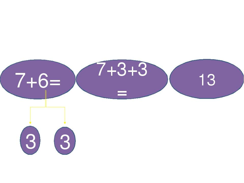 7+6= 3 3 7+3+3= 13