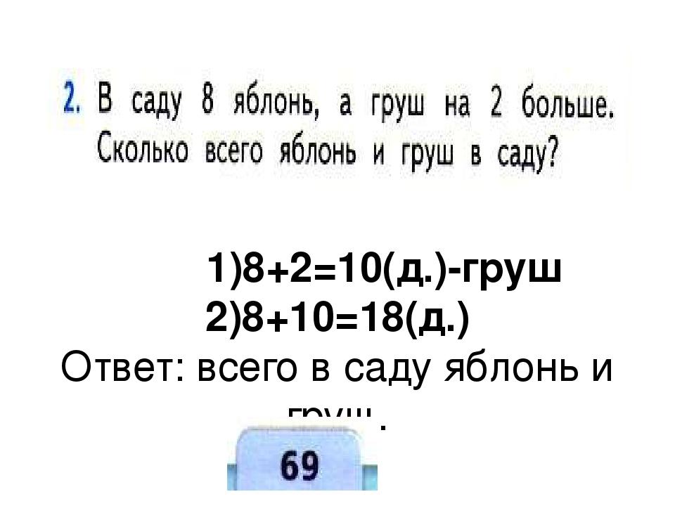 1)8+2=10(д.)-груш 2)8+10=18(д.) Ответ: всего в саду яблонь и груш.