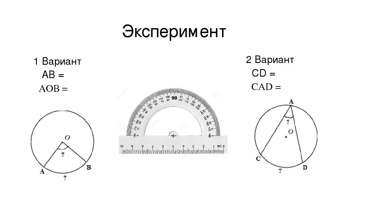 Эксперимент 1 Вариант ͝ АВ = ﮮАОВ = 2 Вариант ͝ СD = ﮮСАD =