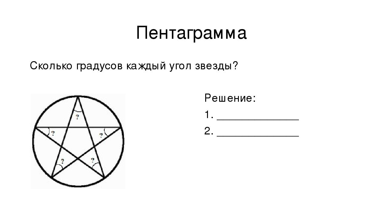 Пентаграмма Сколько градусов каждый угол звезды? Решение: 1. _____________ 2....