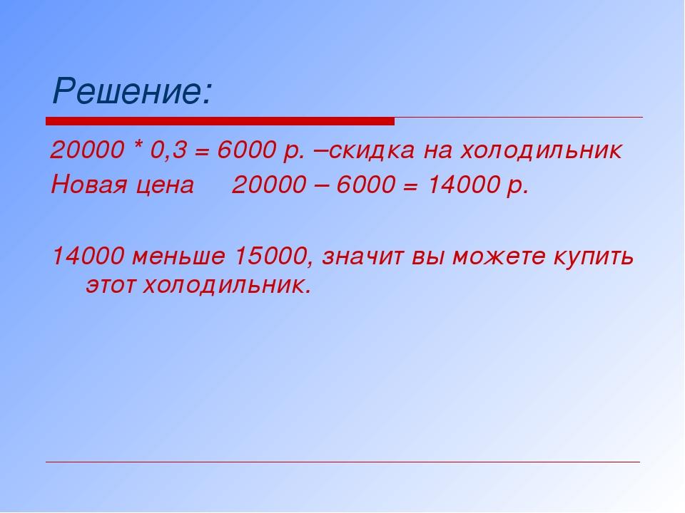 Решение: 20000 * 0,3 = 6000 р. –скидка на холодильник Новая цена 20000 – 6000...