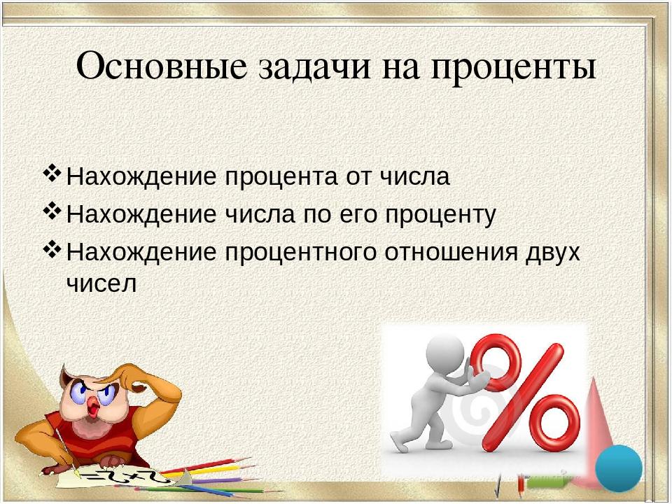 Основные задачи на проценты Нахождение процента от числа Нахождение числа по...