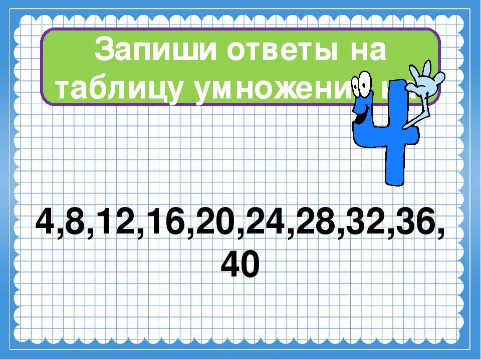 Запиши ответы на таблицу умножения на 4,8,12,16,20,24,28,32,36,40