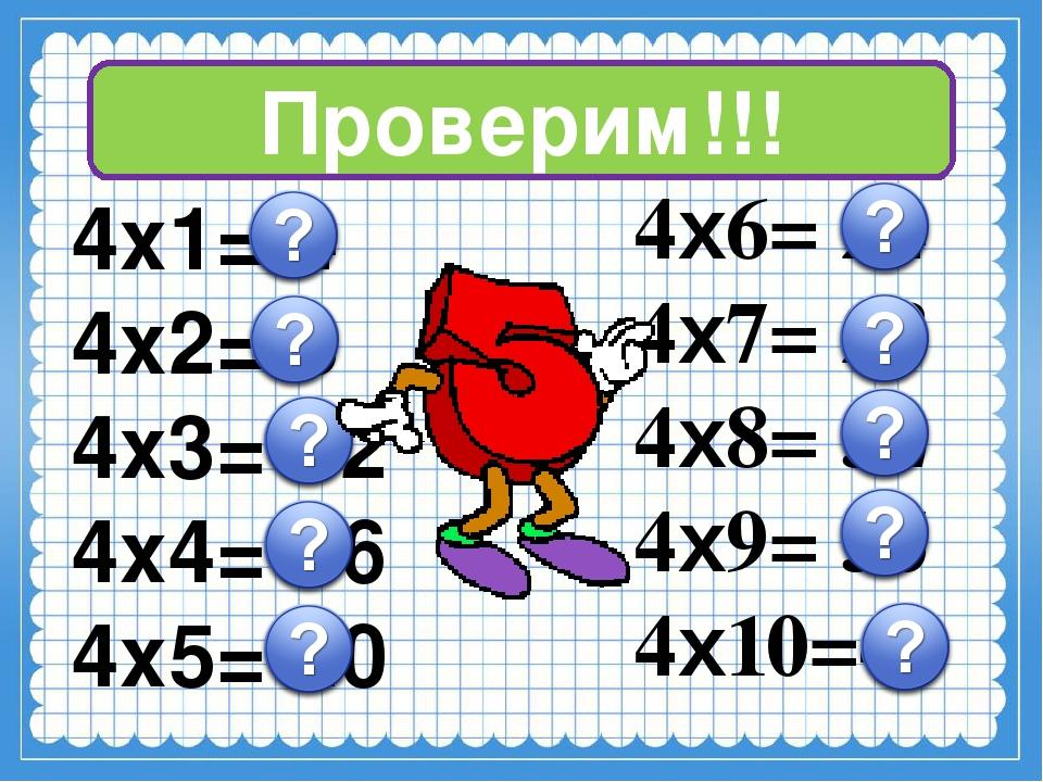 Проверим!!! 4х1= 4 4х2= 8 4х3= 12 4х4= 16 4х5= 20 4х6= 24 4х7= 28 4х8= 32 4х9...