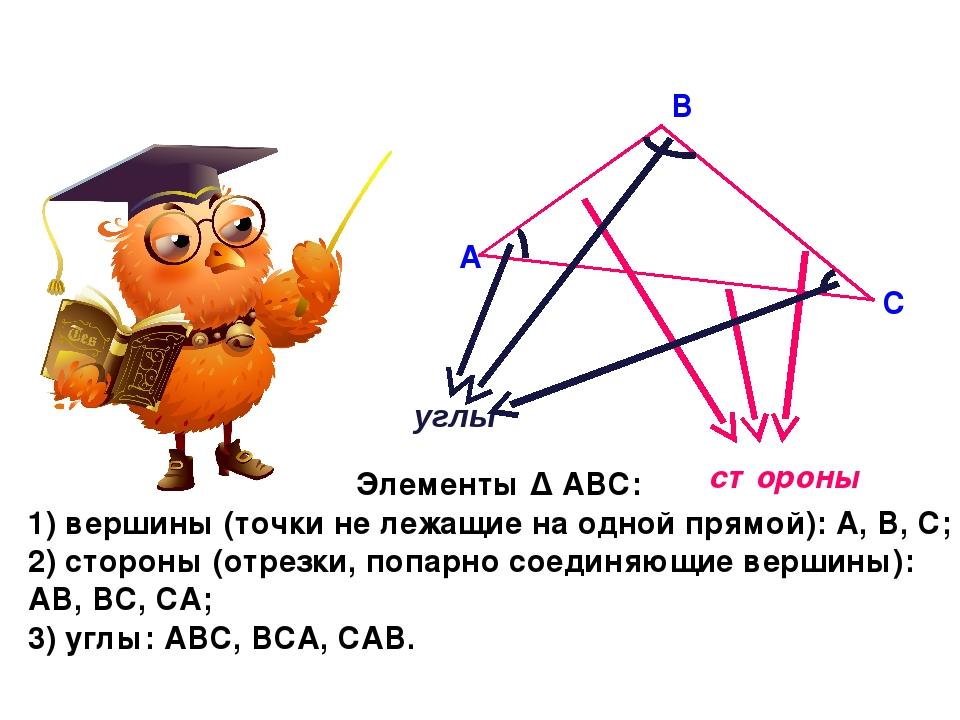 А В С стороны углы Элементы Δ АВС: 1) вершины (точки не лежащие на одной прям...