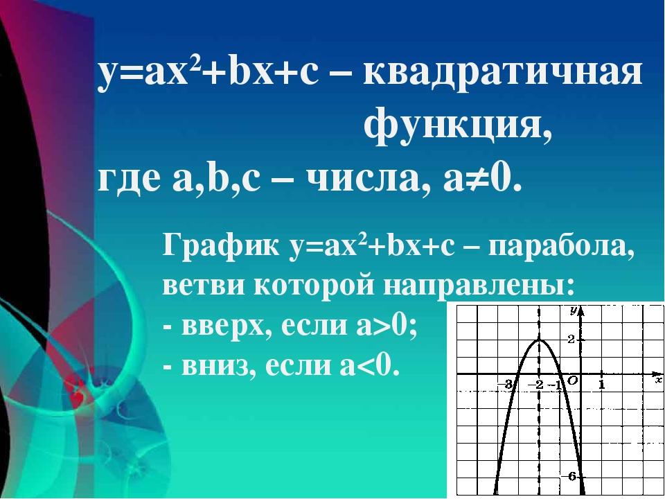 у=ах2+bx+c – квадратичная функция, где а,b,с – числа, а≠0. График у=ах2+bx+c...