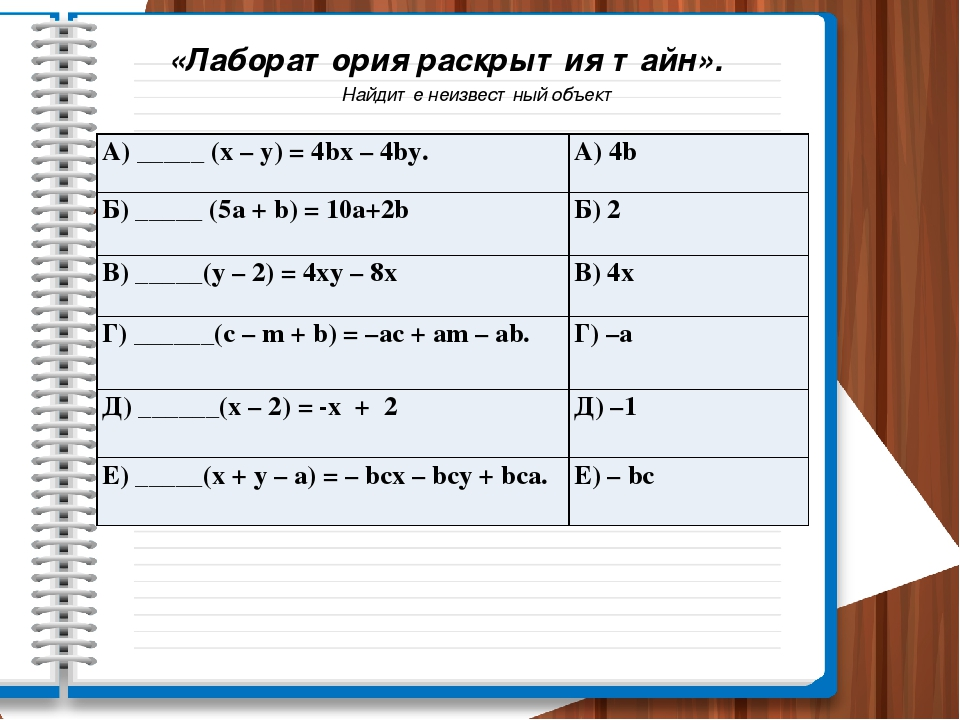 «Лаборатория раскрытия тайн». Найдите неизвестный объект А) _____ (х– у) = 4b...