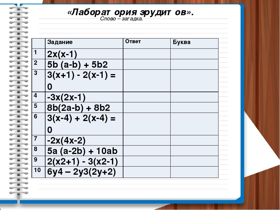 «Лаборатория эрудитов». Слово – загадка. Задание Ответ Буква 1 2х(х-1) 2 5b(а...
