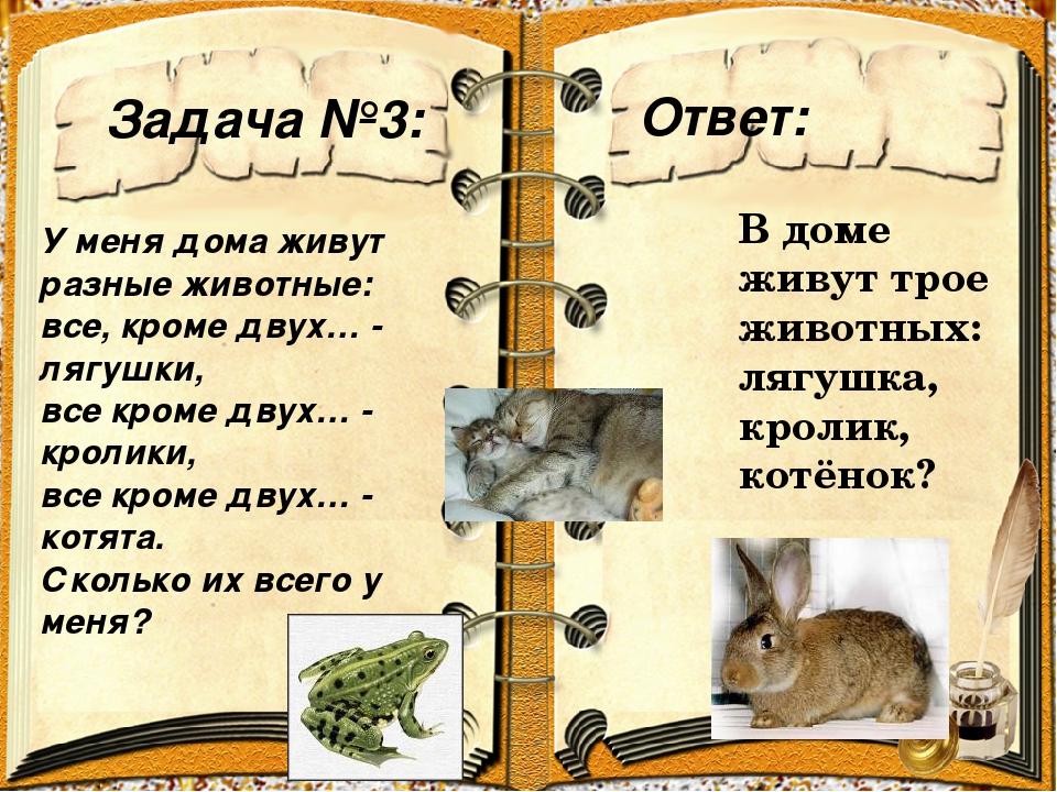 Задача №3: Ответ: У меня дома живут разные животные: все, кроме двух… - лягуш...