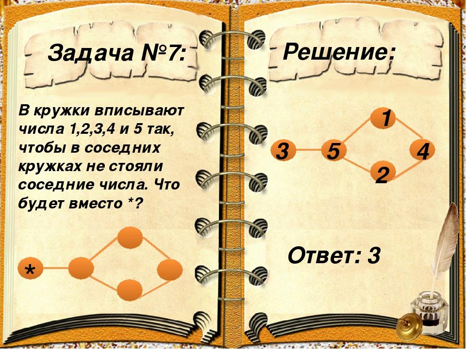 Задача №7: Решение: В кружки вписывают числа 1,2,3,4 и 5 так, чтобы в соседни...