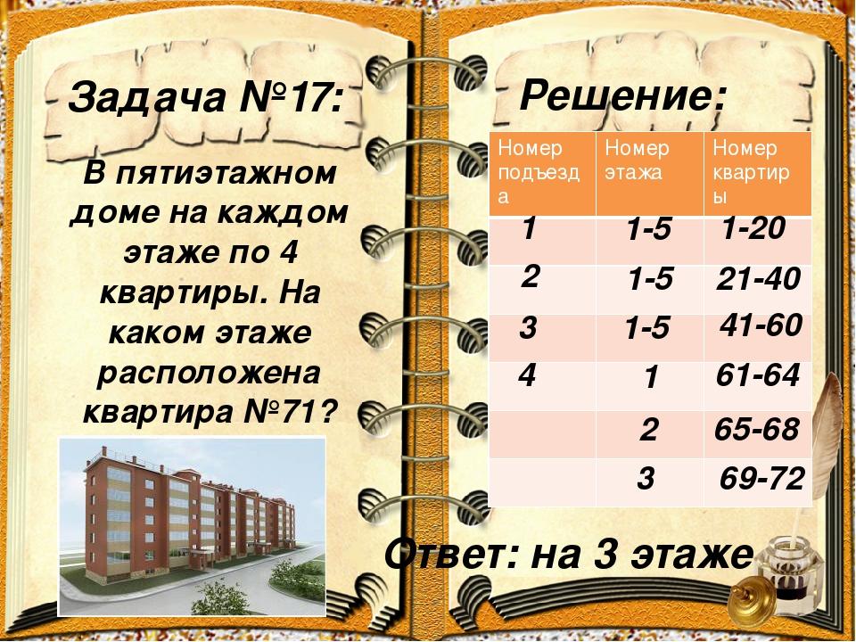 Задача №17: Решение: В пятиэтажном доме на каждом этаже по 4 квартиры. На как...