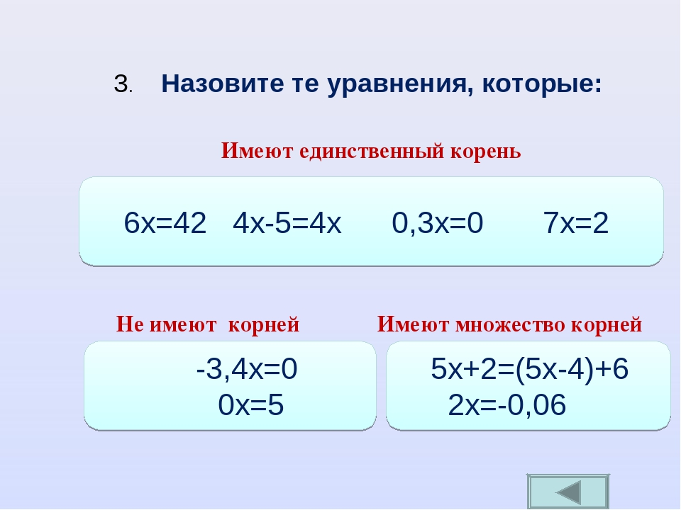 Имеют единственный корень 6х=42 4х-5=4х 0,3x=0 7x=2 Не имеют корней -3,4x=0 0...