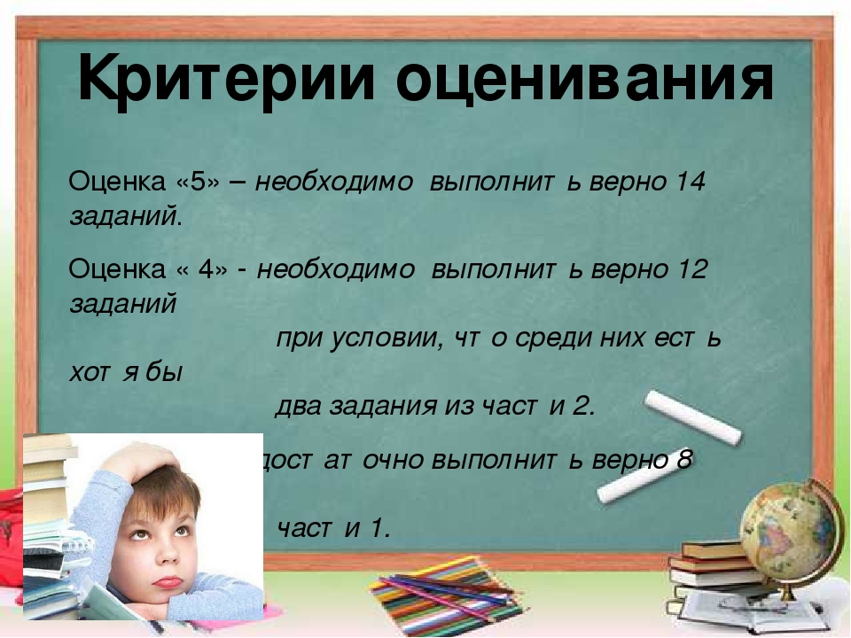 Критерии оценивания Оценка «5» – необходимо выполнить верно 14 заданий. Оценк...