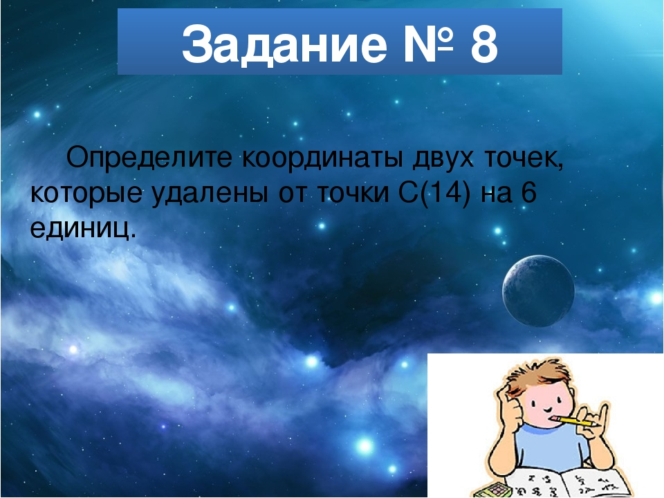 Задание № 8 Определите координаты двух точек, которые удалены от точки С(14)...